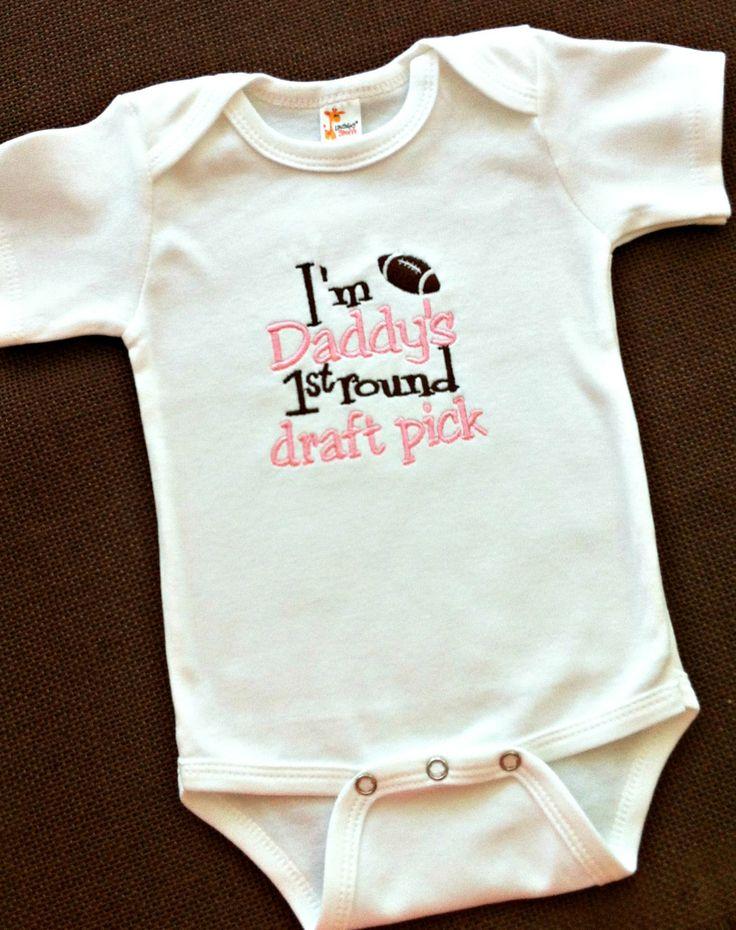 Baby Girls Onesie or Shirt- Outfit - Baby Shower Gift - Football - Sports - Daddys First Round Draft Pick - Bodysuit - Newborn - Toddler