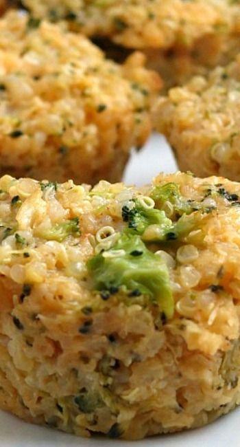 Broccoli Cheddar Quinoa Bites #broccoli #cheese #quinoa #healthy