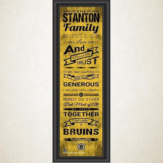 Personalized Boston Bruins Family Cheer Print Gold   NHL Wall Decor ...