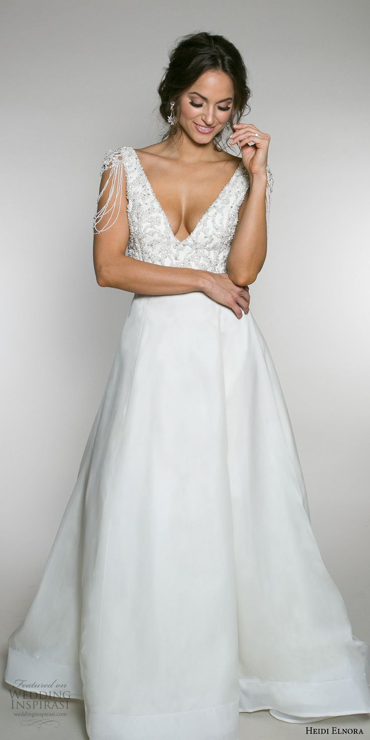 heidi elnora fall 2017 bridal sleeveless strap heavily embellished bodice elegant a  line wedding dress low v back chapel train (lotte luxe) mv #weddingdress