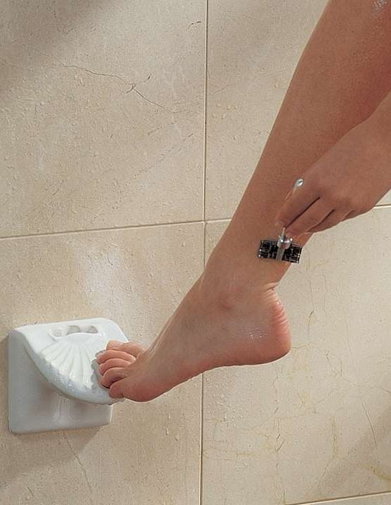 This foot rest's angled design allows you to balance your leg and shave with ease.