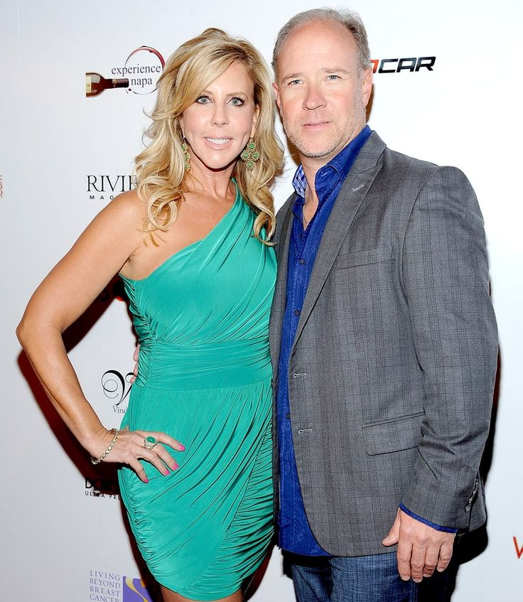 Vicki Gunvalson and Brooks Ayers arrive at the Wines by Wives Launch Party for Celebrity Wine of the Month Club at Lexington Social House on May 8, 2012, in Hollywood.