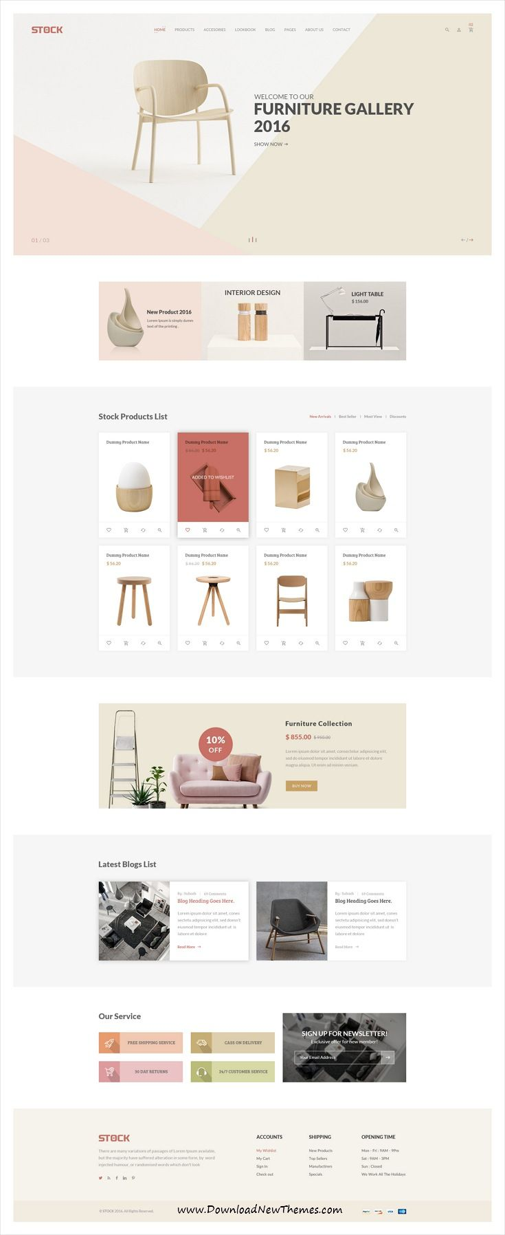 Stock is clean and modern design #PSD template for awesome #furniture store #eCommerce #website with 21+ layered PSD pages to live preview & download click on image or Visit
