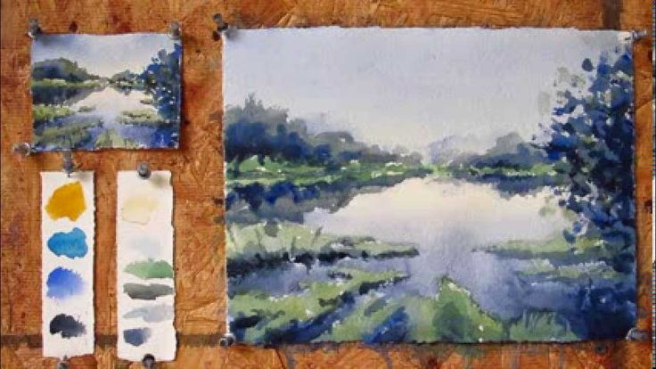 Intermediate step by step watercolor tutorial: Painting a Lake (+playlist)