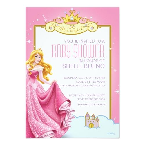 Disney Girl's Birthday Party Disney Princess Aurora It's a Girl Baby Shower Card