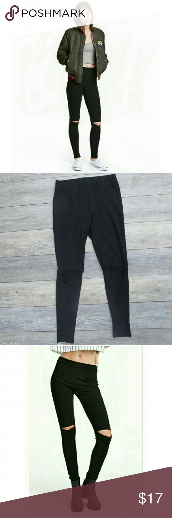 NWOT H&M Cut Out Knee Black Leggings Small Awesome leggings! Solid Black Cut out knee  I bought these are they are a little too big on me. I like my leggings to be very form fitting. I usually wear an xs-s and in jeans a 24-25. I think these would be good for a small to medium.  Materials are in last photos. They are not thin leggings. A little on the thicker side but not very thick. They are definitely not see through. Feels like very good quality! H&M Pants Leggings