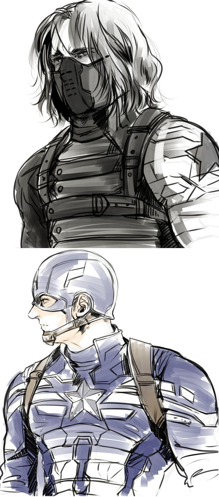 The Winter Soldier and Captain America. http://rednavi.tumblr.com/