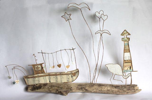 Papier, fil de fer et bois flotté. Bateau de pêche, oiseau et phare. - Epistyle: Miscellaneous