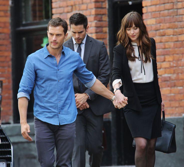 Jamie Dornan as Christian Grey and Dakota Johnson as Anastasia Grey on the set of Fifty Shades Freed 6/20/2015 http://everythingjamiedornan.com/gallery/thumbnails.php?album=285