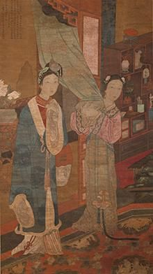 Woman in a Brothel Being Presented to a Client, China, late eighteenth century (detail); hanging scroll, ink and color on silk; 65¾ × 24⅝ in.; University of California, Berkeley Art Museum and Pacific Film Archive