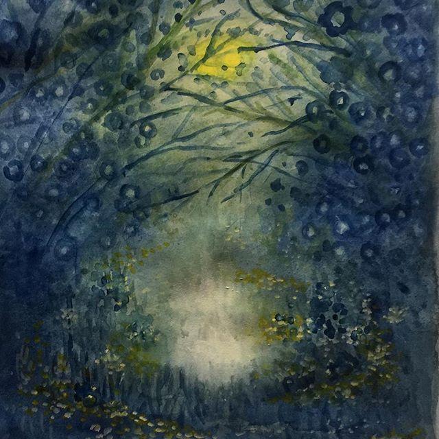 【mymicyo】さんのInstagramをピンしています。 《夜の森はチョット怖くて不思議で何か分からない光があったりして、なんていうイメージ。 #森#森の中#絵#イラスト#paint #watercolor》