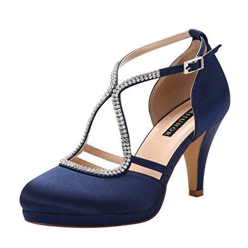 a8c653b40bccd Amazon.com | ERIJUNOR Women Low Heel Comfort Platform Ankle Strap ...