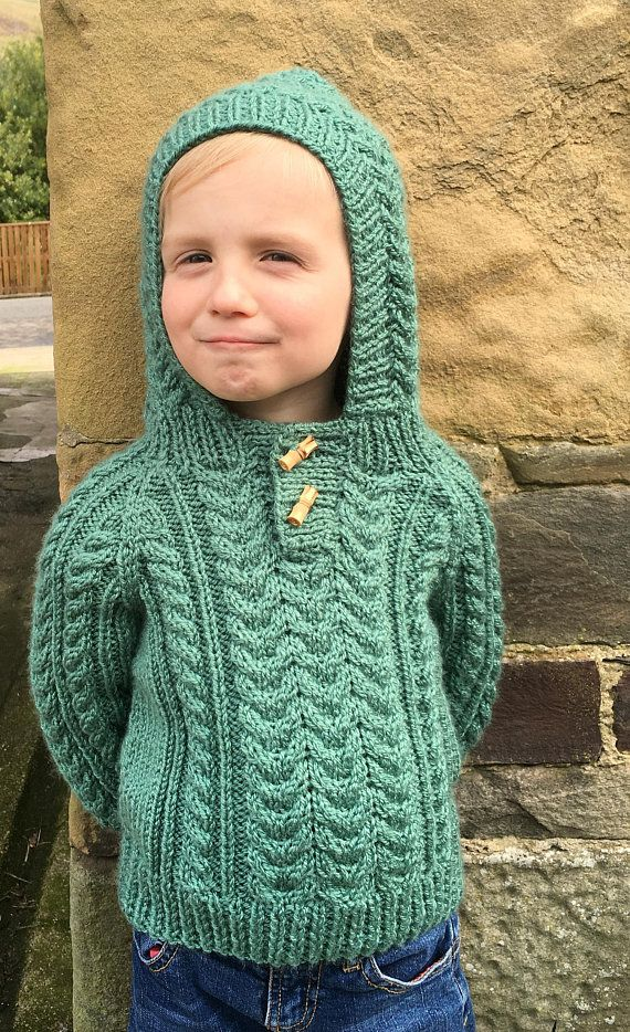Childs handmade hooded green and white sweater