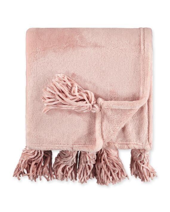 Aiden Tasseled Plush Throw Plush Throw Pink Throw Blanket Plush Throw Blankets