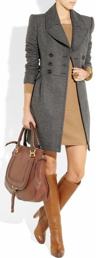 Burberry London - ok i NEED this and must have it.  wowwwww!: Grey Coats, Style, Burberry Coats, Outfit, Classic Winter Work Wardrobes, Brown Boots, The Dresses, Burberry London, Camels Colors Handbags