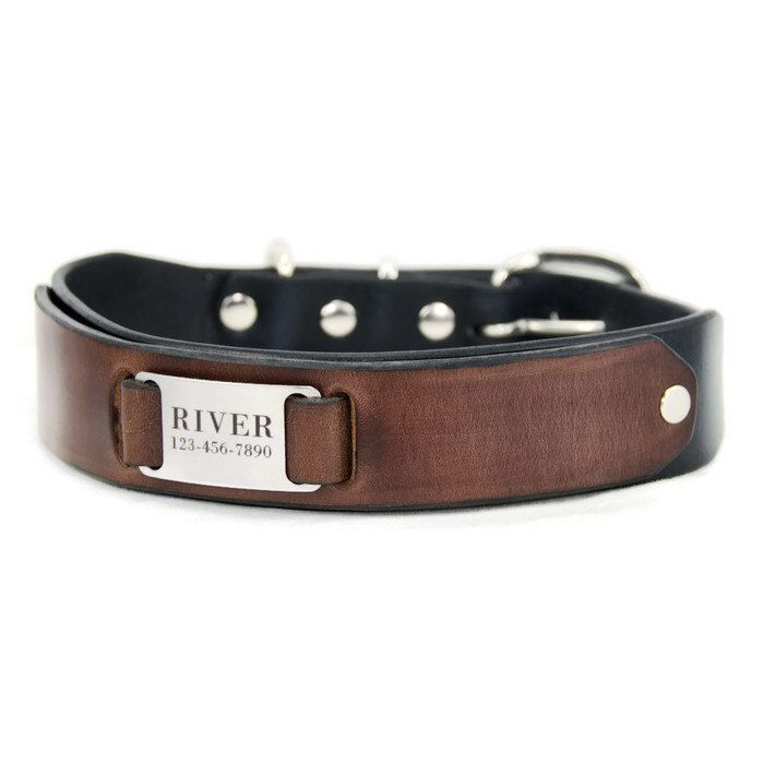 """Custom Leather  Dog Collar  -- Black and Brown Leather with a Stainless Steel  Pet ID Tag,  Personalized  Engraved Nameplate, 1.5"""" Wide by PupPanache on Etsy https://www.etsy.com/listing/215859507/custom-leather-dog-collar-black-and"""