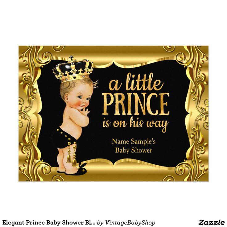 Elegant Prince Baby Shower Black Gold Blonde Boy Card