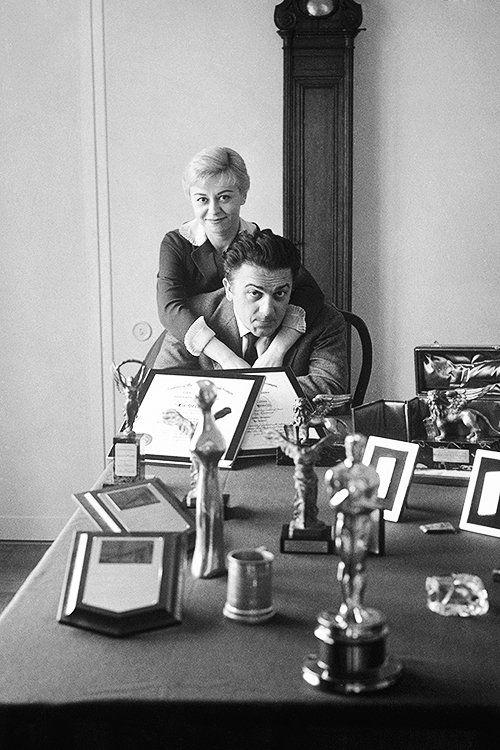 Federico Fellini and Giulietta Masina at their home in Rome, Via Margutta, 110. Photo by Carlo Bavagnoli, 1961
