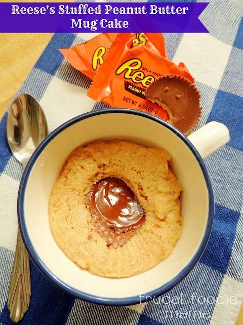 Reese's Stuffed Peanut Butter Mug Cake via thefrugalfoodiemama.com #mugcake #peanutbutter #Reesescups
