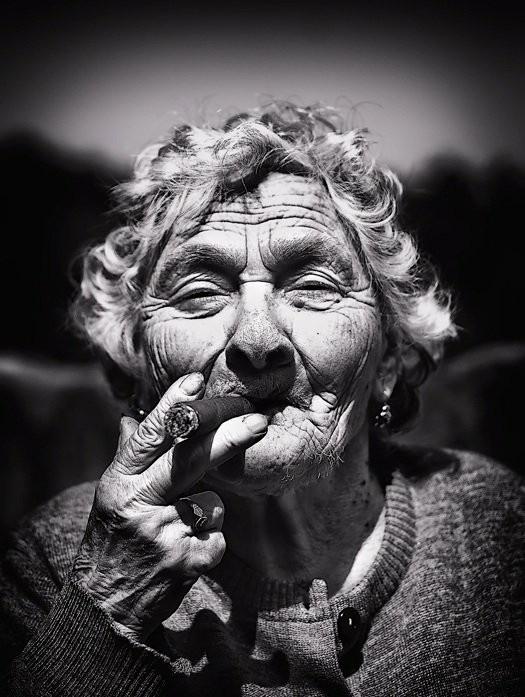 Cigar smoking gramma, gotta love her