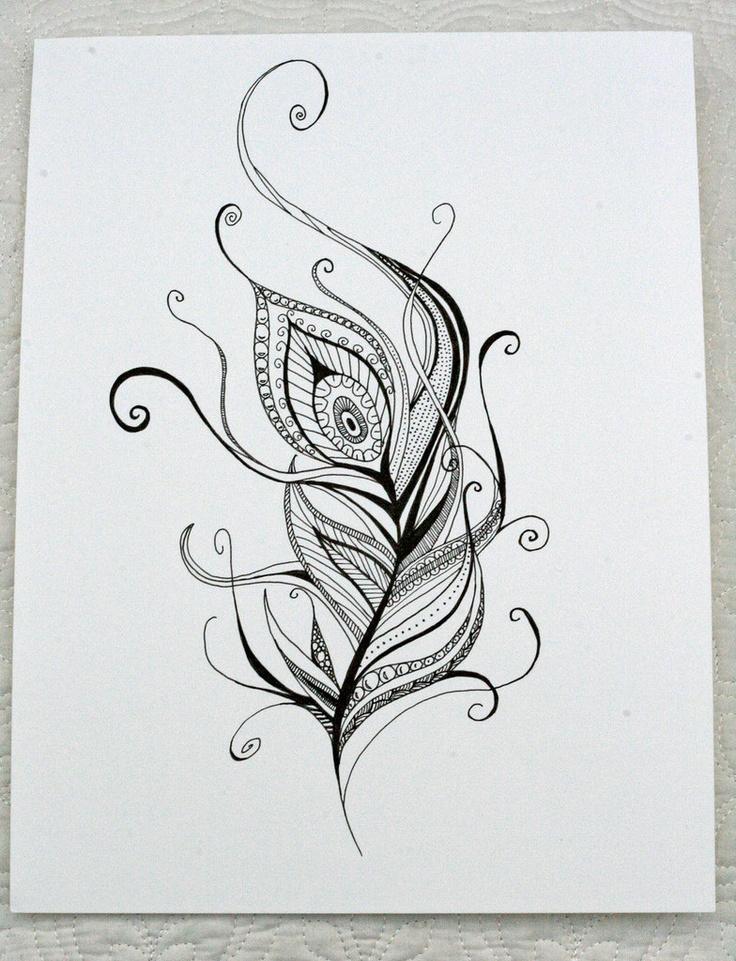 Hand Drawn Henna Style Peacock Feather. $30.00, via Etsy. <3<3<3!!