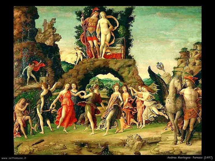 Una de las obras del MANTEGNA para el Studiolo fue El Parnaso (1497) cuyo significado gira en torno a la castidad y el amor. Era un tema recurrente en la literatura, donde se exaltaba las virtudes femeninas y su influencia benéfica sobre el hombre, además de dar ejemplos de grandes mujeres de la Antigüedad, de la Biblia y del tiempo presente. En la obra aparecen en el centro Marte y Venus, dioses de la guerra y el amor, de cuya unión de contrarios nace la Armonía.