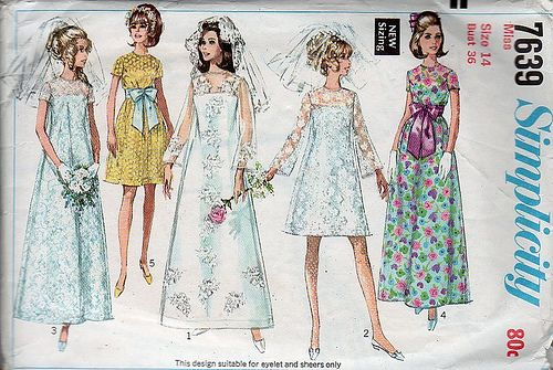 Vintage sewing pattern: 1960s wedding dress, bridesmaid, bow by vintagemode, via Flickr