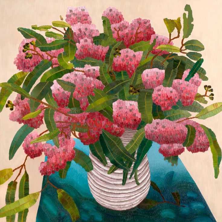 Goolwa Gum Blossom 40 x 40 oil on canvas, Elisabeth Howlett, 2015