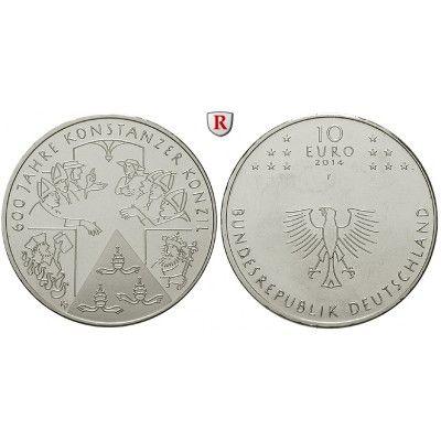 Bundesrepublik Deutschland, 10 Euro 2014, 600 Jahre Konzil von Konstanz, F, bfr.: Kupfer-Nickel-10 Euro 2014 F. 600 Jahre Konzil von… #coins