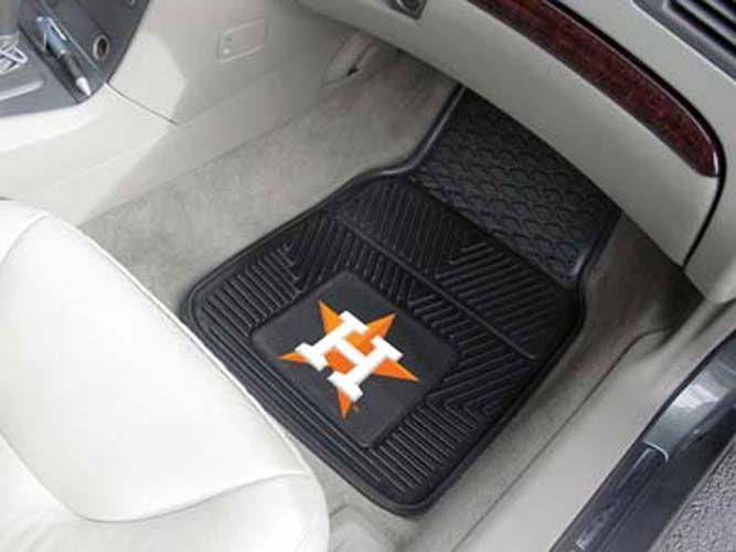 Houston Astros 18in x 27in Heavy Duty 2-Piece Vinyl Car Mat Set
