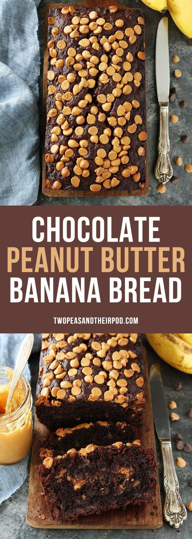 Chocolate Peanut Butter Banana Bread is the BEST banana bread recipe. This rich, chocolate banana bread has a swirl of peanut butter inside and peanut butter chips on top!