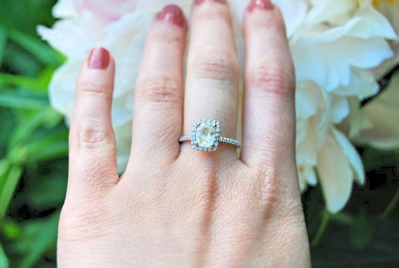 35 %OFF Yellow sapphire engagement ring .14K White Gold.100% Natural Sapphire engagement ring