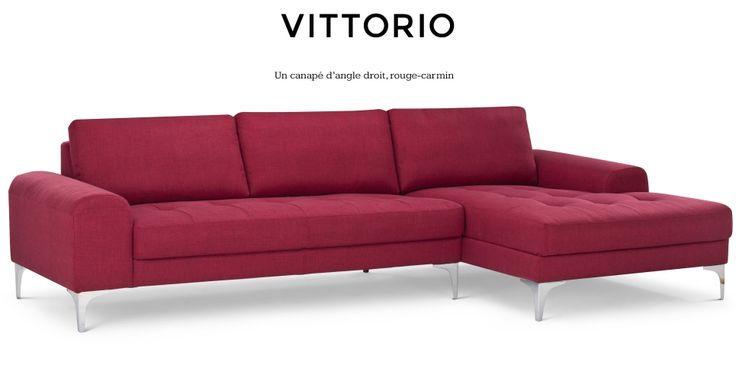 Vittorio, un canapé d'angle droit rouge carmin | made.com