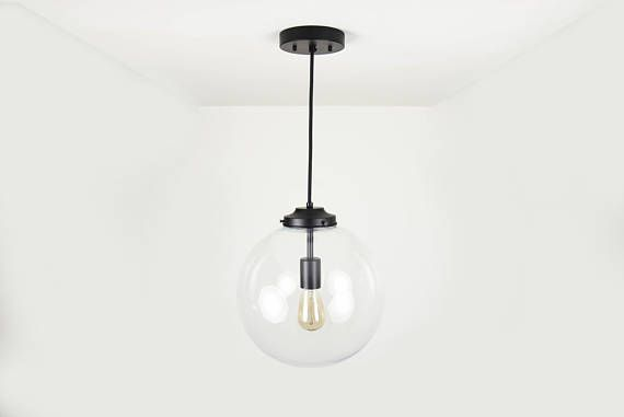 Matte Black Modern Pendant Lighting With Clear Glass Globe Clear