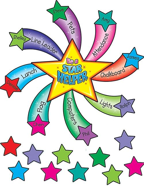 Write the kiddos' names on the stars and randomly choose classroom helpers for the week. So cute :)