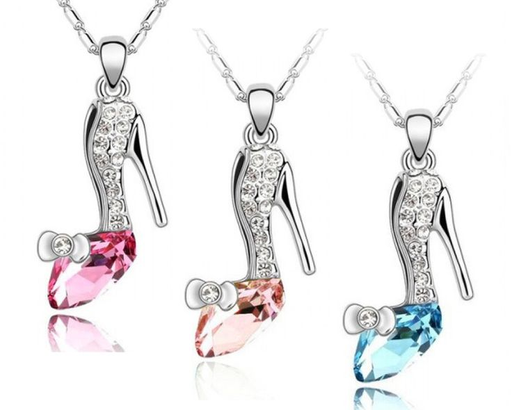 $9 for a Gold OR Silver Plated Cinderella Glass Slipper Necklace, Choose from 5 Colours