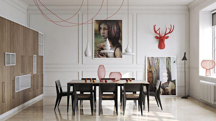 Decoraciones rojas para el comedor moderno comedores - Decoraciones de comedores ...
