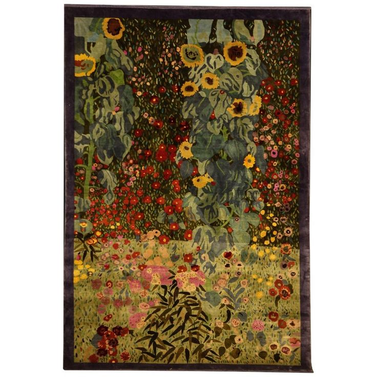 Farmers Garden Silk Carpet for a Painting by Klimt Designer Gunther Lambert
