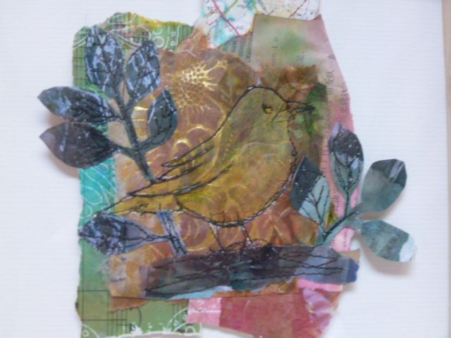 collaged papers, printed and painted and cut with machine sewn bird
