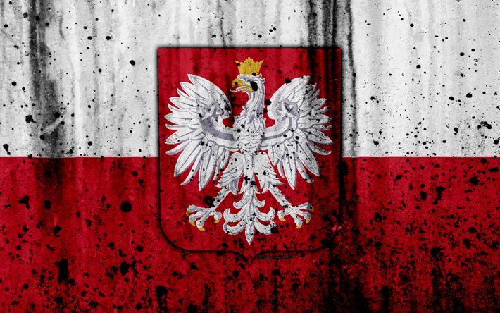 Download wallpapers Polish flag, 4k, grunge, flag of Poland, Europe, national symbols, Poland, coat of arms of Poland, Polish coat of arms