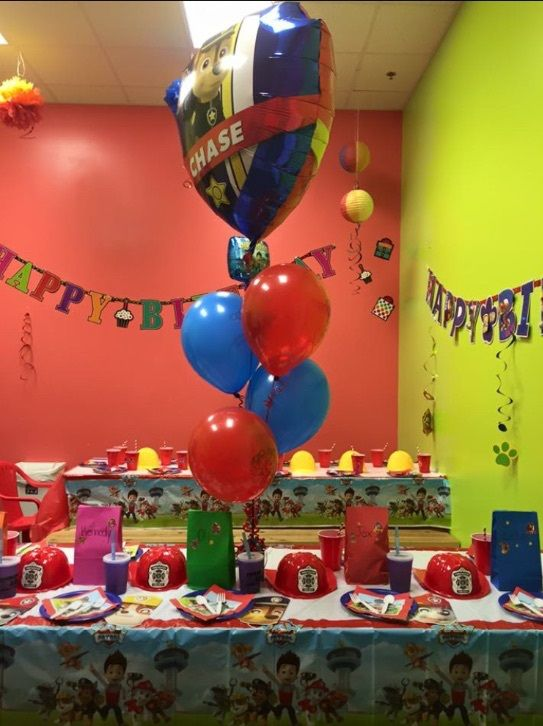 "Paw Patrol Pawty - Does your ""pup"" love Paw Patrol? Throw them the perfect pawty with these Paw Patrol party details! - Paw Patrol Birthday Banner (Party City) - Paw Patrol ""Happy Birthday"" Banner (Party City), Paw Patrol table cloths (Party City), Paw Patrol spiral Party Decor (Party City), and C..."
