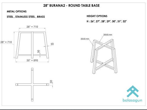 28 BURANA2 Round Table Base Height 26 32