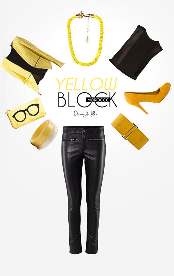 Yellow block - Escarpins moutardes Pull 399 MAD - Top plissé Zara 399 MAD - Slim H 499 MAD - Blazer Zara 999 MAD Collier métal Stradivarius 99 MAD - Ceinture taille élastique Mango 14€99