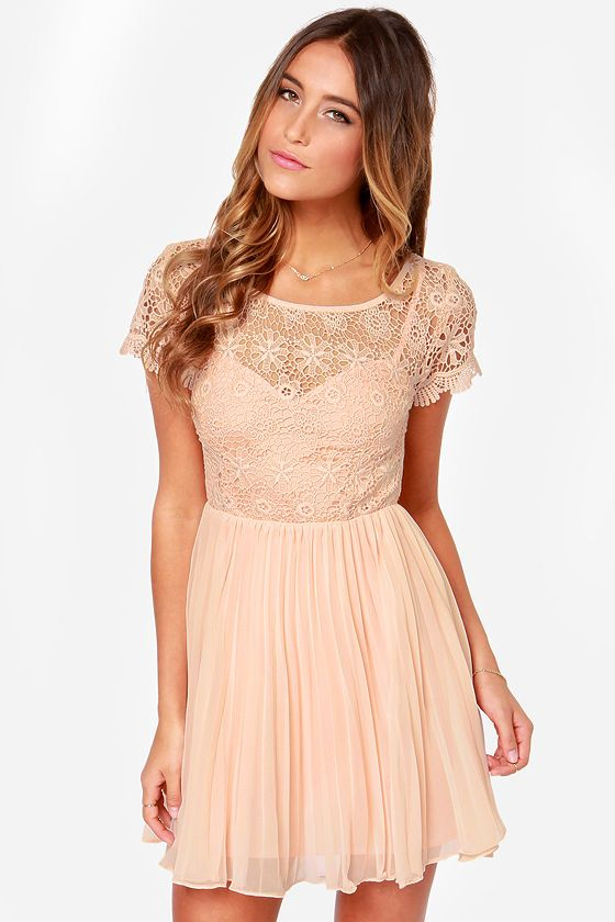 Air of Elegance Light Peach Lace Dress at LuLus.com! http://www.lulus.com/products/air-of-elegance-light-peach-lace-dress/153986.html