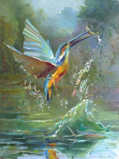 "birds, painting, neshkovaart, ""Лесное озеро"", ""The forest lake"", 80x50, холст, масло. Екатерина Нешкова Ekaterina Neshkova Art"