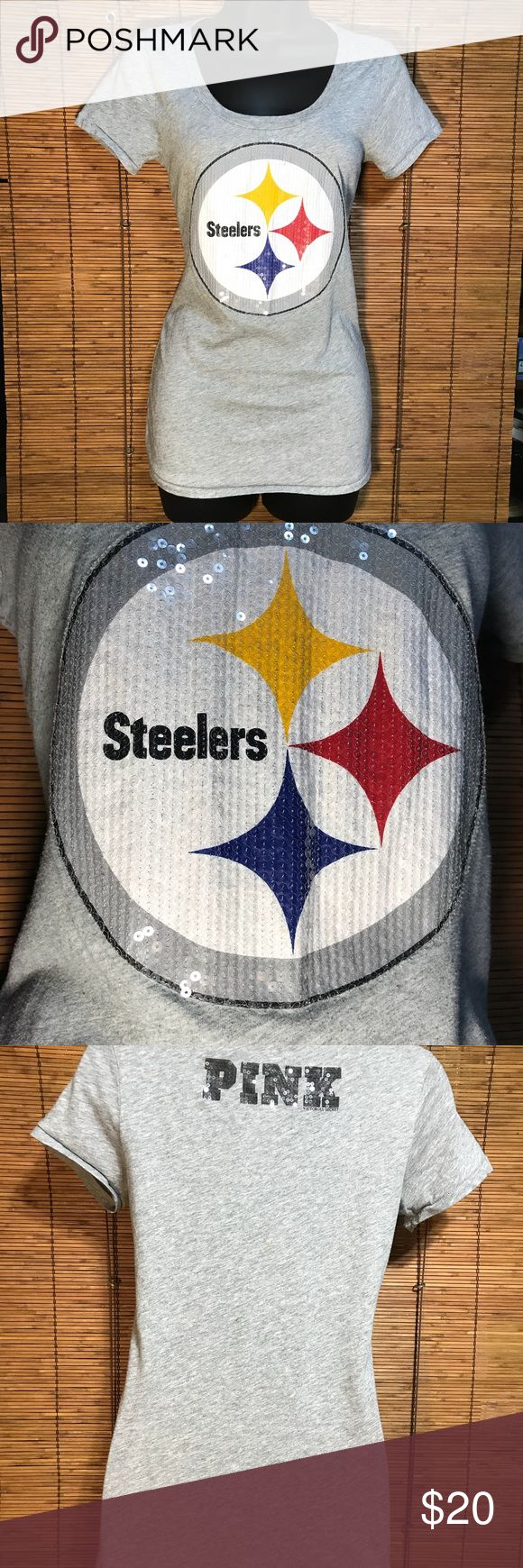 """PINK Victoria's Secret Pittsburgh Steelers T Shirt Steelers logo on front has sequins. """"PINK"""" in sequins on the back. PINK Victoria's Secret Tops Tees - Short Sleeve"""