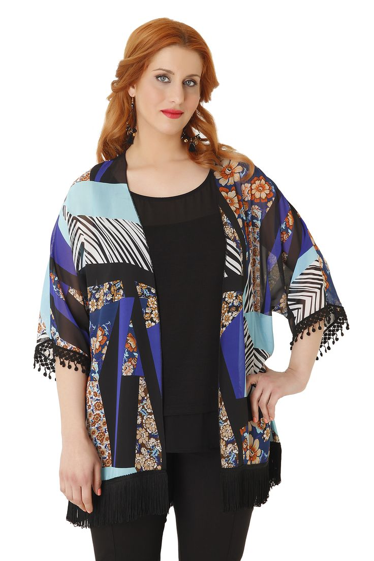 A lovely kimono with floral design made of chiffon, decorated with frills. The perfect choice for a night-out!
