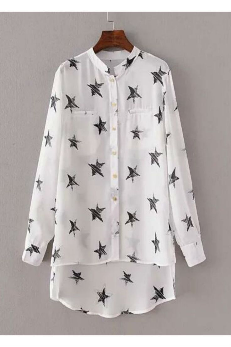 White Stars Printed Long Sleeve Chiffon Blouse