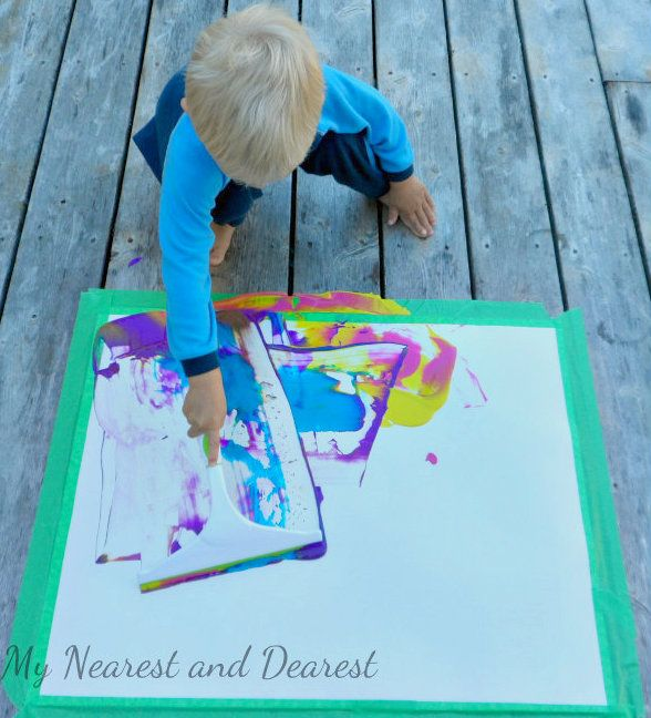 Painting for Kids. So many fun ideas to try including squeegee painting.