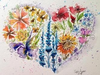 Sophie Appleton Artist love heart flowers painting
